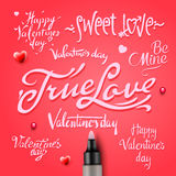 Set Of Happy Valentine's Day Hand Lettering Royalty Free Stock Photos