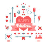 Set Of Happy Valentine's Day. Objects on a white background Royalty Free Stock Photo