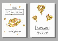 Set of Happy Valentines Day cards. Golden glitter texture elements lips and hearts. Vector illustration Stock Photo