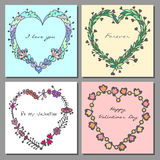 Set of Happy Valentines Day cards. Hand drawn doodle heart floral frames. Vector illustration Royalty Free Stock Photos