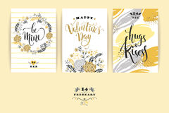 Set of Happy Valentines Day cards. Stock Photography