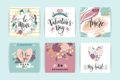 Set of Happy Valentines Day cards. Royalty Free Stock Photo