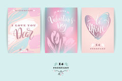 Set of Happy Valentines Day cards. Stock Images