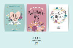 Set of Happy Valentines Day cards. Stock Photo