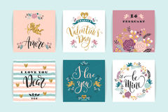 Set of Happy Valentines Day cards. Royalty Free Stock Photos