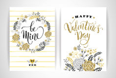 Set of Happy Valentines Day cards. Stock Photos