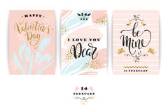Set of Happy Valentines Day cards. Royalty Free Stock Images