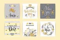 Set of Happy Valentines Day cards. Royalty Free Stock Image