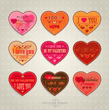 Set of Happy Valentines Day Cards Royalty Free Stock Photography