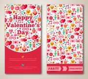 Set Of Happy Valentines Day Greeting Card or Flyer. Vector illustration. Ornamental Background With Butterfly, Hearts, Bow, Rose Flower and Cupcake Royalty Free Stock Photo