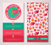 Set Of Happy Valentines Day Greeting Card or Flyer Stock Photo