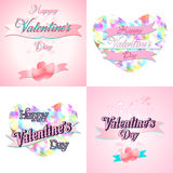 Set of  Happy Valentines Day Greeting Cards. Set of  Happy Valentines Day Lettering Greeting Cards Stock Photo