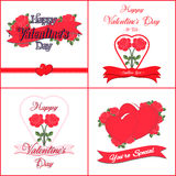 Set of  Happy Valentines Day Greeting Cards Stock Photos