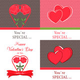 Set of  Happy Valentines Day Greeting Cards Royalty Free Stock Photography