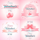 Set of  Happy Valentines Day Greeting Cards Royalty Free Stock Images