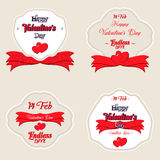 Set of  Happy Valentines Day Greeting Cards Stock Photography