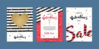 Set of Happy Valentines day greeting cards with lettering and hand drawn elements. Set of Happy Valentines day greeting cards. Sale and web banners or flyers royalty free illustration