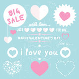 Set of happy valentines day love hearts Royalty Free Stock Photography