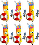 Set of happy viking pencils with sword Stock Photos