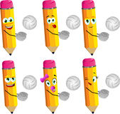 Set of happy volleyball player pencils Royalty Free Stock Images