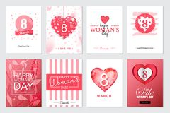 Set of Happy Woman`s Day artistic hand drawn greeting card or ba. Ckground Royalty Free Stock Images