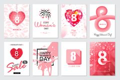 Set of Happy Woman`s Day artistic hand drawn greeting card or ba. Ckground Royalty Free Stock Photo