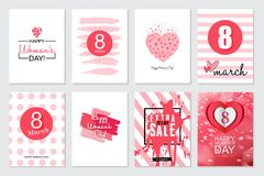 Set of Happy Woman`s Day artistic hand drawn greeting card or ba. Ckground Stock Image