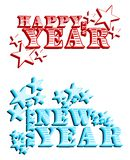 Set of Happy year labels in blue and red isolated Stock Photo