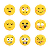 Set of happy yellow emoticons. Funny cartoon flat faces isolated on white background. Stock Photography