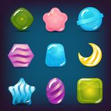 Set of Hard Cadies, Lollipop and Jelly Icons. Vector set of hard candy, lollipop and jelly icons. Isolated elements. Perfect for match three game or other design Stock Photography