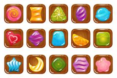 Set of Hard Cadies, Lollipop and Jelly Icons. Vector set of hard candy, lollipop and jelly on wooden icons. Isolated elements on white background. Perfect for Stock Images