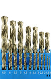 Set of hardened steel metal drill bits Royalty Free Stock Photography