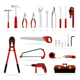 Set of Hardware Tool. A set of hardware tool that are suitable for carpenter, electrician, and plumber Stock Image