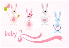 Set of hares, baby background Royalty Free Stock Photo