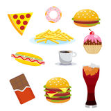 Set harmful foods. Chocolate and cola, hamburger and hot dog, french fries, and cake, coffee and pizza. Vector Stock Images