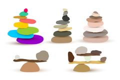 Set of harmony and balance, colorful stone cairn pebbles. Vector illustration. Isolated on white background.  Stock Images