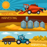 Set of harvesting banners. Combine harvester, tractor and granary. Agricultural illustration farm rural landscape Stock Photography