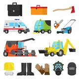 Working Equipment, Protective Accessory, Transport. Set of harvesting and sweeping equipment, medical transport, lawn mowers, technology digging, protective Stock Image
