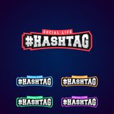 Set of the Hashtag power full typography 3D Silver or Steel stock illustration