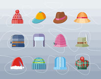 Set of Hat Flat Design Collection Stock Photography