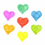 Set of hatched colourful hearts Royalty Free Stock Photos