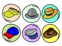 Set of Hats and Caps on Round Background Stock Images