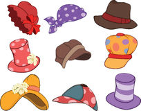 Set of Hats Cartoons Stock Photography
