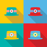 Set of Hats On Colorful Background Stock Photography