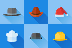 Set of hats flat icons with long shadow Royalty Free Stock Photos