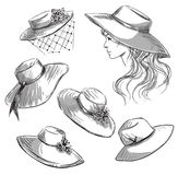 Set of hats. Girl in a hat. Fashion illustration. Stock Image