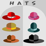 A set of hats to the mod flat style. Heads of different people a Royalty Free Stock Photo