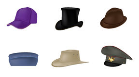 Set of hats,vector Royalty Free Stock Photos