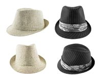 Set of hats on white. Set of the hats on white stock photography