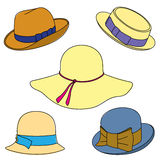 Set of hats on white background. Vector illustration Royalty Free Stock Images